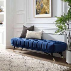 Living Room Bench, Living Room Decor, Bench Furniture, Bedroom Furniture, Blue Furniture, Furniture Ideas, Modern Bench, Banquette, Upholstered Bench