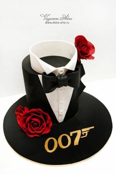 Write Name on Happy Birthday Handsome Boy Professional Cake.Dashing Boy Cake With Name.Create Name Bday Cake Online.Handsome Boy Birthday Cake With Your Name Gorgeous Cakes, Pretty Cakes, Cute Cakes, Amazing Cakes, Fancy Cakes, Sweet Cakes, Pink Cakes, Bolo James Bond, James Bond Cake
