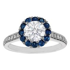 Round Diamond and Sapphire Halo Engagement Ring 0.50 tcw.