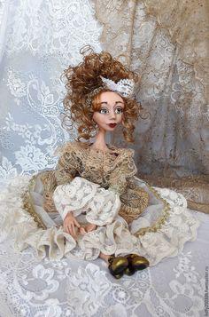 Купить Белла. Авторская будуарная куколка - золотой, кукла ручной работы, кукла, кукла в подарок