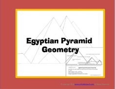 In this FREEBIE of an Egyptian Pyramid scene, students are challenged to find parallel and perpendicular lines, different angles and different triangles. If you like the way this fit a unit of Egypt into your Math curriculum, also check out my full Egyptian unit here: http://www.teacherspayteachers.com/Product/Interactive-Ancient-Egypt-Activities-More-2nd-4th-Grade-852685