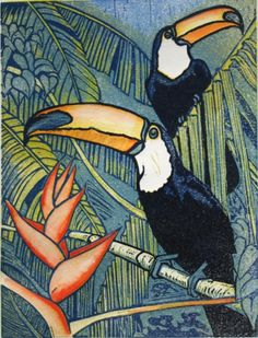 Toucans. Linocut, 15cm x 20cm £30 unframed. by mike smith printmaker. These prints range in size from 20 x15 cms. to 40 x 30cms. The majority of them are reduction prints using up to 8 colours. As I only produce very limited editions of my work, I might also occasionally add small areas of watercolour wash.