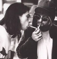 Kurt Cobain and Dave Grohl.