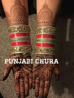 Wedding chura Wedding Chura, Bridal Chura, Punjabi Chura, Bridal Bangles, Wedding Rituals, Bangle Set, Four Square, Henna, Tattoos