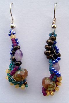 Night Lantern, Freeform Peyote Stitch Earrings.  via Etsy.  #beadwork