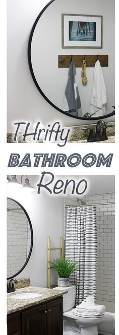 Thrifty bathroom renovation, bathroom decor, bathroom reno, subway tile, hex tile, black tile, budget friendly bathroom reveal