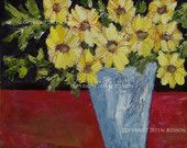 Original, Oil Painting, Yellow Flowers, Blue Vase, Red Table, Winjimir, Textured, Home Decor, Wedding, Birthday, Holiday Gift, Fine Art,