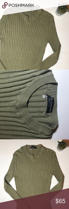 """• DOLCE & GABBANA • Vintage ribbed sweater Gently worn vintage D&G tan/green ribbed sweater. Size S/M. Measurements: 27"""" shoulder to bottom, 12"""" across bust, 19"""" armpit to sleeve. Stretchy material. Open to reasonable offers! 💕 Dolce & Gabbana Sweaters Crew & Scoop Necks"""