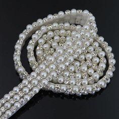 1 yards Delicate Rhinestone Faux Pearl Trim Applique Wedding Bridal Dress Craft