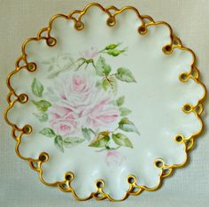 Beautiful Antique Pink Handpainted ROSE T & V by BellaRosaAntiques