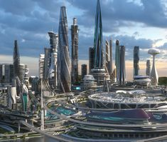 3D central business district city architecture
