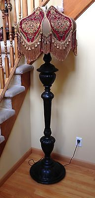 VICTORIAN CARVED MAHOGANY FLOOR LAMP WITH CUSTOM FABRIC SHADE