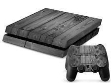 Sony PS4 Playstation 4 Skin Design Sticker Screen protector Set Gray Wood Motif