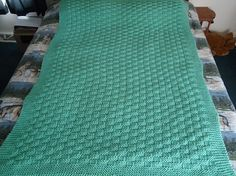 Soft Sage Green Hand Knitted Basketweave Afghan by CraftsbyCummins