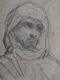 CHASSERIAU Théodore,1846 - Arabe debout, retenant un pli de son Burnous - drawing - Détail 23