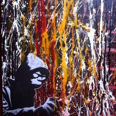 Banksy tribute  #painting #drawing #tags #graffiti #stencil #collage #banksy #tribute #wall #streetart