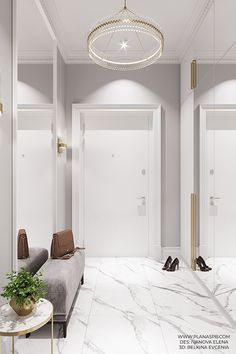 Flooring White Marble Interior Design Ideas For 2019 Marble Interior, Hall Interior, Apartment Interior, Bedroom Apartment, Home Room Design, Interior Design Living Room, Living Room Designs, House Design, Home Decor Furniture