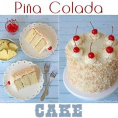 This Pina Colada Cake has all the flavors of the favorite frozen cocktail. One bite of the tropical dessert, a moist pineapple cake, paired with a rich coconut cream cheese frosting and you've escaped to paradise. Tropical Desserts, Köstliche Desserts, Delicious Desserts, Sweet Recipes, Cake Recipes, Dessert Recipes, Pina Colada Cake, Cakes And More, Let Them Eat Cake