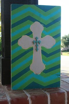 Wooden chevron and cross sign with many by GraceFlowsFreely, $40.00