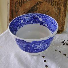 Antique Flow Blue Bowl Abbey Pattern George by SilverFoxAntiques