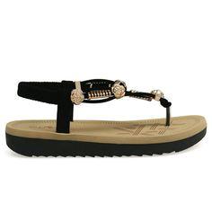 Irina-43 Black Jewel Detail Lug Sole Sandals