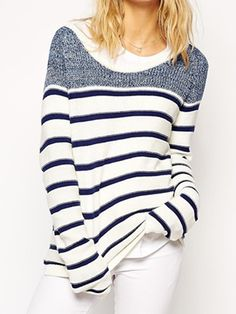 Blue And White Stripe Long Sleeve Jumper | Choies
