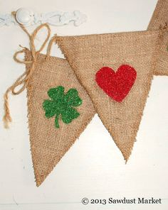 St Patrick's Day Decoration - Reversible Burlap Banner for Valentines Day and St. Patricks Day