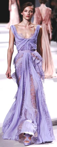 """The last pinner said: """"Elie Saab ss2011"""" - I like the pinstripiness of the skirt, and the look of the lace, especially on the top of the bodice. The colour is the part that really caught my eye, but I enjoy the flowy nautre of this gown as well."""