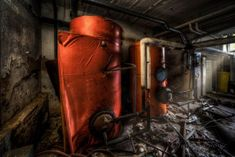 The hot water cooled down a while ago – most likely the boilers are completely dry and rusty inside… and somebody may have already checked if it's worth to… Water Cooling, Urban Exploration, Explore, Cool Stuff, Metal, Red, Shots, Photography, Street
