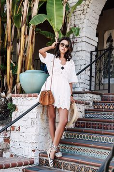 Casual summer outfit - white lace dress + black and white espadrilles