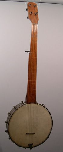 Beautiful flush fret w/original hooks and square nuts, friction pegs, inlaid offset fret markers, probably made by Cubley in Chicago. Has or...
