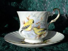 Queens Rosina Tea Cup and Saucer Birds of by TheVintageTeacup - Goldfinch Teacup