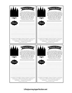 Press Forward Temple Blocks and Temple Goals Activity and Printables: Young Women Activity