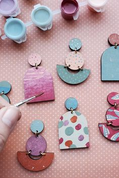 Ready to host a craft night? This DIY earring kits makes a great virtual craft night. The kit includes supplies to create two beautiful pairs of hand-painted custom stud earrings. Painted Pots, Painted Paper, Hand Painted, Diy Earrings Kit, Stud Earrings, Diy Projects Design, Design Your Own Jewelry, Nickel Free Earrings, Paint And Sip