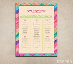 Custom Restaurant Menu Tex Mex Printable by PepperDesignStudio