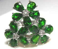 diopside-cz silver ring 32.30 cts size-8.25 rj-7