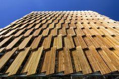 Operabe wood louver facade. CH2 Melbourne City Council House 2.