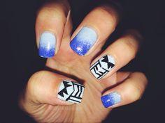 aztec nails ombré (: blue ombré nails