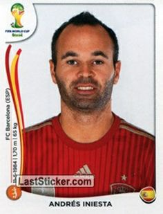 Andres Iniesta of Spain. 2014 World Cup Finals card. Brazil World Cup, World Cup Russia 2018, World Cup 2014, Fifa World Cup, Soccer Fifa, Football Soccer, Football Stickers, Football Cards, Lionel Messi