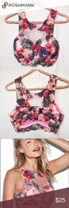 VS Push-Up Tropical -Print High Neck Bra NWT Victoria's secret Bra! Cute & Comfy! •Pretty Tropical Print Lace• Push-Up Padding for extra Lift!! • Underwire Support!                   Size: S-DD Fits Sizes 32DD & 34DD      Brand-new with tags!                                    Bundle for a better price!                                 Check out my closet for more Victoria's Secret & PINK items!! PINK Victoria's Secret Intimates & Sleepwear Bras