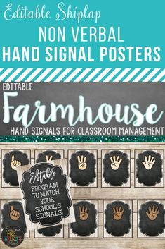 These editable non verbal hand signal posters are a perfect back to school resource to help teachers establish classroom management.  Click here to check out these shabby chic shiplap posters and discover the ease of programming them to fit your school's signals.