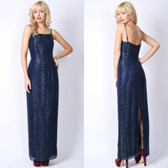 Vintage 80s Navy Blue Beaded Cocktail Gown Dress Party Silk Deco Maxi Small S