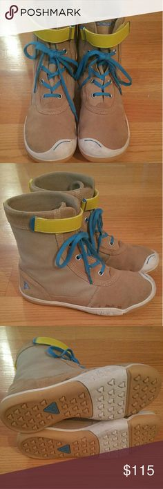 Kids Plae Boots Plae Boots Tan w/ Yellow & Blue Details Kids size 4 Worn Once Great Condition Unique PLAE Shoes Boots