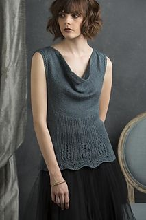 """""""With its cowl neck, this sleeveless sweater has a retro feel to match the vintage Frost Flower stitch."""""""
