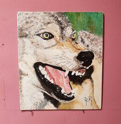 Tableau+acrylique+«Loup»+signé+acr