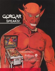 Flyer for the Williams pinball machine Gorgar.