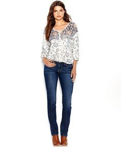 Lucky Brand Printed Peasant Top & Straight-Leg Jeans - Women - Macy's