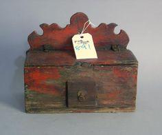 Painted salt box, 19th c., 7 3/4'' h., 9 3/4'' w.