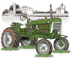 Farm T Shirt Green Tractor Adult Unisex Quality T Shirt 1490 Antique Tractors, Vintage Tractors, Old Tractors, John Deere Tractors, Fabric Panel Quilts, Fabric Squares, Fabric Panels, Diy Go Kart, John Deere Equipment
