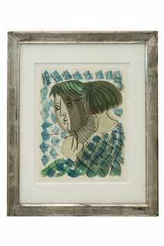 Watercolor and crayon drawing on paper in manner of Picasso by Raymond Debieve (1931-2011) dated 1968